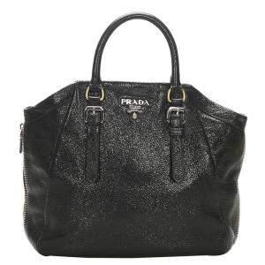 Prada Black Shimmer Leather Tote
