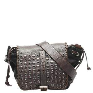 Prada Brown Leather/Nylon Grommet Tessuto Crossbody Bag