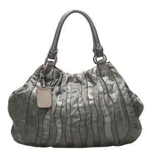 Prada Gray Tessuto Nappa Waves Tote Bag
