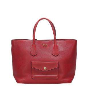Prada Red Leather Cuir Twin Satchel