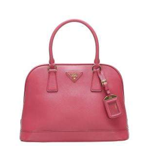 Prada Pink Saffiano Leather Satchel Bag