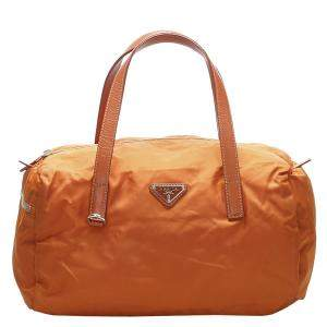 Prada Orange Nylon Satchel Bag