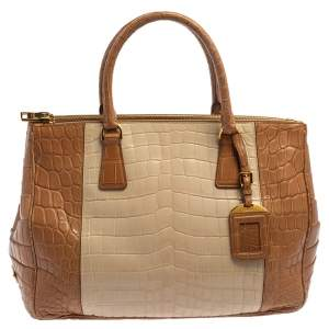 Prada Two Tone Crocodile Medium Double Zip Tote