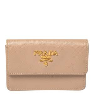 Prada Beige Saffiano Lux Leather Wallet