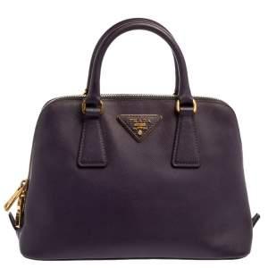 Prada Purple Saffiano Lux Leather Small Promenade Bag