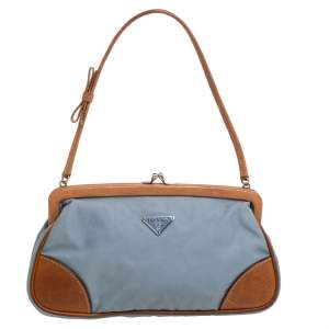 Prada Blue/Brown Nylon and Leather Frame Pochette Bag