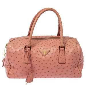 Prada Peach Ostrich Boston Bag