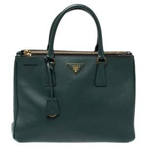 """حقيبة يد برادا """"غاليريا"""" متوسطة سحاب مزدوج جلد سافيانو لوكس أخضر داكن"""