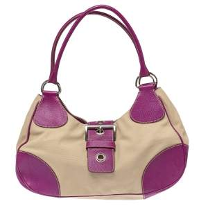 Prada Purple/Beige Canvas and Leather Buckle Flap Shoulder Bag