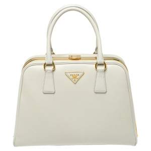 Prada Off White Saffiano Lux Leather Pyramid Frame Satchel