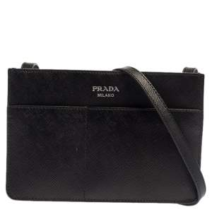 Prada Black Leather Front Pocket Crossbody Bag