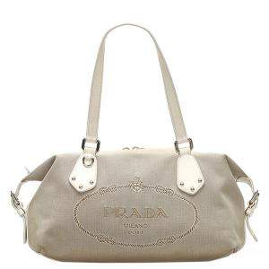 Prada Brown/Beige Canapa Tote Bag