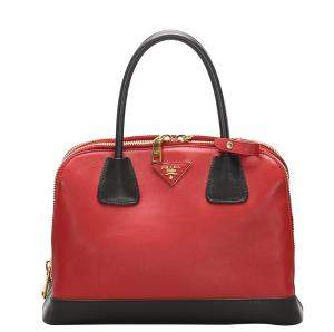 Prada Red/Black Saffiano Lux Leather Promenade Satchel Bag