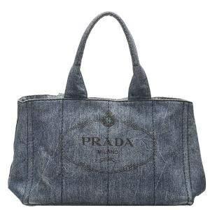 Prada Blue Denim Canapa Logo Bag