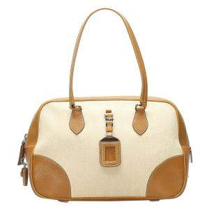 Prada Beige Canvas And Leather Satchel