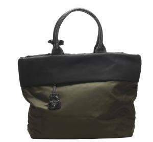 Prada Navy Green/Black Reversible Tessuto Double Tote Bag