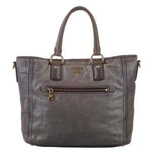 Prada Brown Leather Vitello Shine Satchel Bag