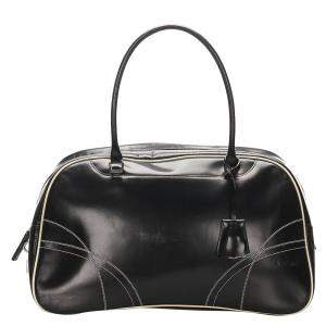 Prada Black Leather Vitello Drive Bowler Satchel