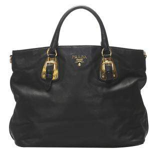 Prada Black Leather Vitello Tote Bag