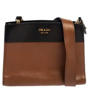 Prada Brown/Black Leather Messenger Bag