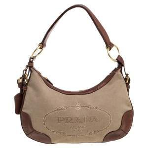 Prada Beige/Tan Logo Jacquard Canvas and Leather Hobo
