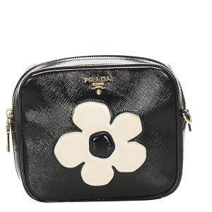 Prada Black Saffiano Leather Vernice Flower Crossbody Bag