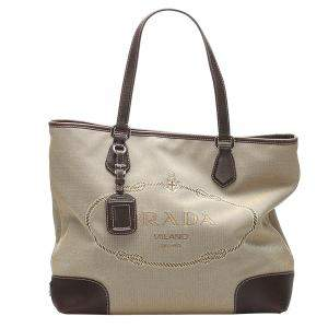 Prada Brown Canvas Canapa Tote Bag