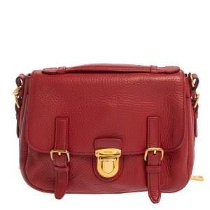 حقيبة برادا بوش لوك يد علوية بقلاب جلد داينو فيتلو أحمر
