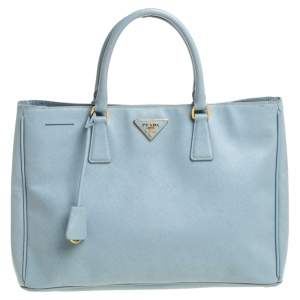 """حقيبة يد برادا """"غاليريا"""" سحاب مزدوج جلد سافيانو أزرق"""