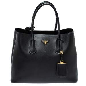 Prada Black Saffiano Cuir Leather Medium Double Handle Tote