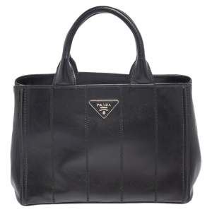 Prada Black Leather Vertical Stitched Tote