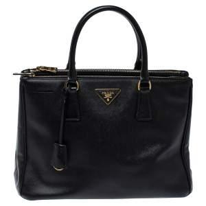حقيبة يد برادا متوسطة سحاب مزدوج جلد سافيانو لوكس أسود