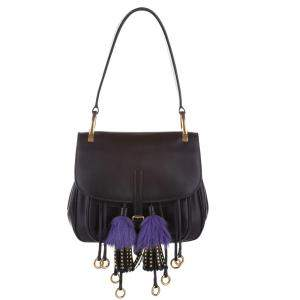 Prada Black City Calf Leather Fringe Corsaire Bag