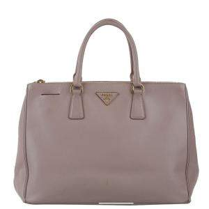 Prada Pink Saffiano Lux Leather Double Zip Galleria Tote Bag