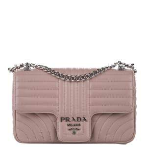 Prada Pink Soft Calf Leather Diagramme Bag