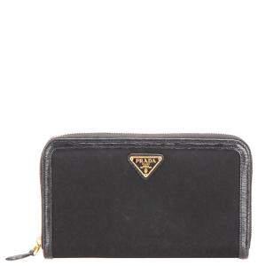 Prada Black Nylon Tessuto Zip Around Wallet