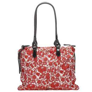 Prada Red/White Printed Canvas Stampato Tote Bag
