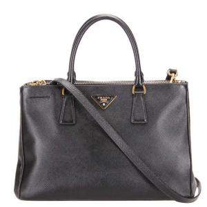 Prada Black Saffiano Lux Leather Galleria Double Zip Tote Bag