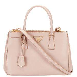 Prada Pink Saffiano Lux Leather Galleria Double Zip Tote bag