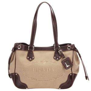 Prada Brown Canvas Canapa Logo Bag