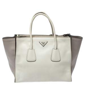 Prada White/Grey Leather Twin Pocket Double Handle Tote