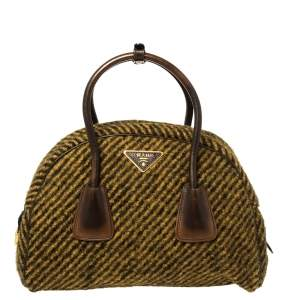 Prada Mustard/Brown Wool and Leather Bauletto Bowler Bag