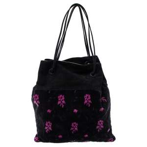 Prada Black/Pink Printed Velvet and Suede Drawstring Pouch Bag