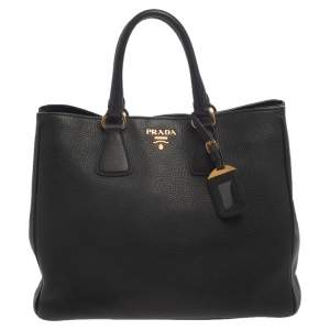 Prada Black Vitello Daino Leather Open Tote