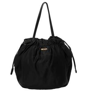 Prada Black Nylon Logo Drawstring Shoulder Bag