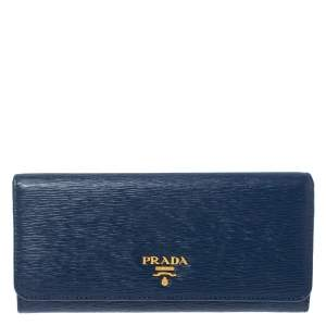 Prada Blue Vitello Move Leather Continental Wallet