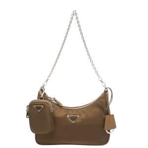 Prada Brown Nylon Re-Edition 2005 Shoulder Bag