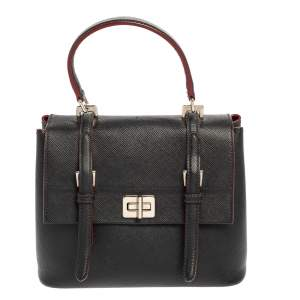 Prada Black Saffiano Lux Leather Turn Lock Top Handle Bag