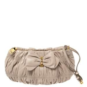 Prada Beige Nappa Gaufre Leather Wristlet Clutch