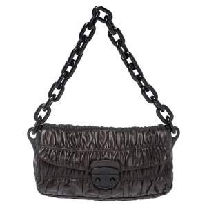 Prada Cacao Brown Gaufre Leather Pushlock Chain Shoulder Bag